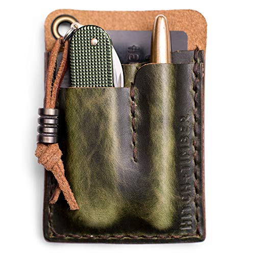 The Card Caddy by Hitch and Timber ~ Leather EDC Wallet for Everyday Carry, EDC organizer, EDC Slip, Knife Sheath, Made in USA