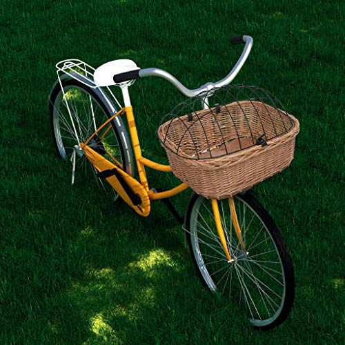 Tidyard Fahrrad-Frontkorb mit Deckel 50×45×35 cm Naturweide Fahrrad Frontkorb mit Deckel Fahrradkorb Weidenkorb für Vorne Transportkorb Weidenfahrradkorb Lenkerkorb Hundekorb