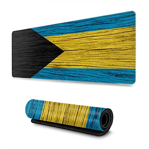 Wooden Texture Bahamian Flag Gaming Mouse Pad XL, Extended Large Mouse Mat Desk Pad, Stitched Edges Mousepad, Long Non-Slip Rubber Base Mice Pad, 31.5 X 11.8 Inch