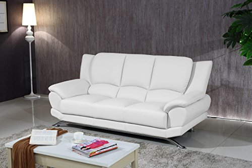 Matisse Milano Contemporary White Leather Sofa Set 3