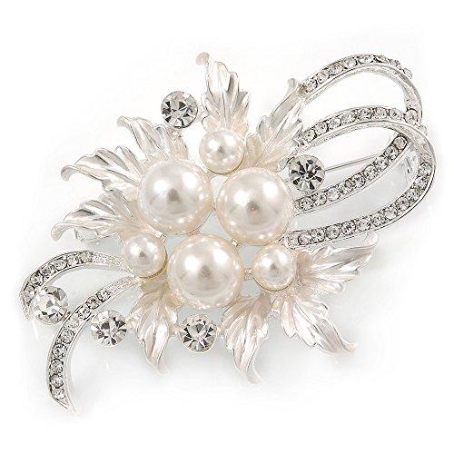 Avalaya - Spilla Floreale con Perle di Vetro austriache e Cristalli Color Argento Chiaro, Lunghezza 60 mm