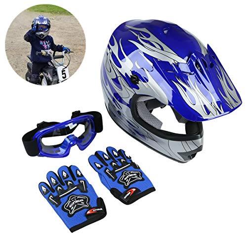 TCT-MT DOT Youth Kids Helmet W/Goggles Gloves Motocross Blue Silver Flame Helmet Dirt Bike ATV Motorcycle Child Helmets Gloves Goggles (Large)