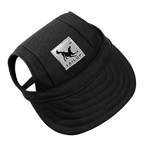 Dog Hat, Pet Baseball Cap/Dogs Sport Hat/Visor Cap with Ear Holes and Chin Strap for Dogs and Cats (Size M, Black) by Happy Hours