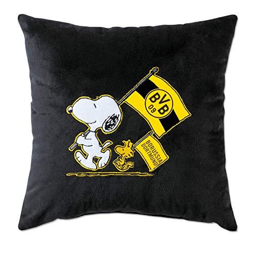 Borussia Dortmund, BVB-Snoopy Kuschelkissen schwarz, 0, 38x38cm