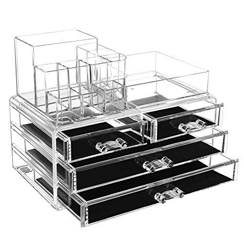 Shun Organisateur De Rangement Cosmétique Acrylique Tiroirs Tiroirs Grand,Transparent-OneSize