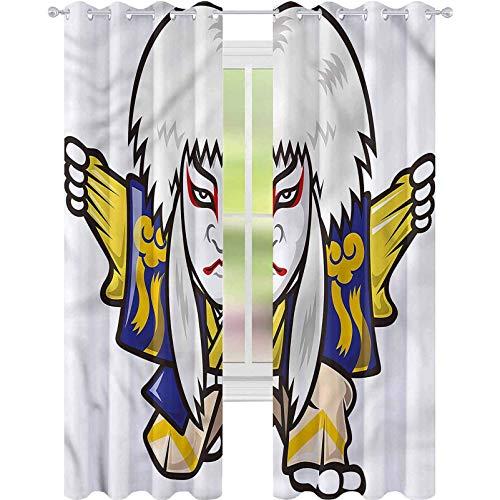 Wondihao Maßgeschneiderte Vorhänge Kabuki-Maske im Kimono, geräuschreduzierender Vorhang