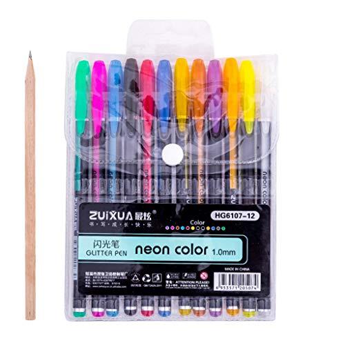 BBring NeoGlitzer Gelschreiber Gelstifte Set Neon Farbe Gel Stift Set für Mädchen Glitzer mit Etui - Malset Mädchen Zeichnen Gelmalstifte -Schreibset - Gelschreiber Set Gelstifte -Kinder (12 Farbe)