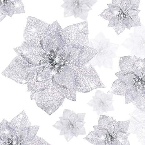 WILLBOND 36 Pieces Christmas Glitter Poinsettia Artificial Flowers Christmas Flowers Decorations Wedding Xmas Tree New Year Ornaments (Silver)