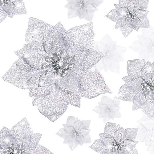 WILLBOND 36 Stück Weihnachten Glitzer Weihnachtsstern Blumen Kunstblumen Hochzeit Glitzer Weihnachtsbaum Neujahr Ornamente(Silber im Pailletten Stil)