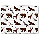Ria Gifts - Personalized Baby Blanket with Name, Custom Baby Blanket for Boys Personalized Baby Boy Gifts, Baby Boy Blanket Customized with Name, Custom baby gifts Woodland Animals, Joshua (30' x 40')