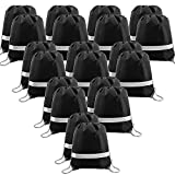 20 Pieces Black-Drawstring-Backpack-Bags in Bulk Reflective Sports Gym String Bags Cinch Bag