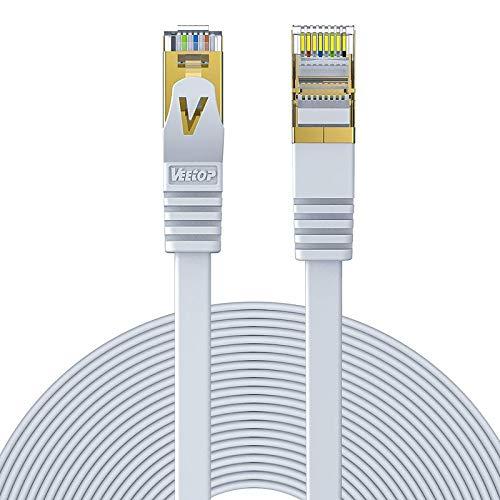 Veetop 20m Lan Kabel Cat 7 Netzwerkkabel Internetkabel Flach mit vergoldetem RJ45 Stecker für High Speed 10 Gigabit Ethernet Netzwerke. 20 Meter Weiß