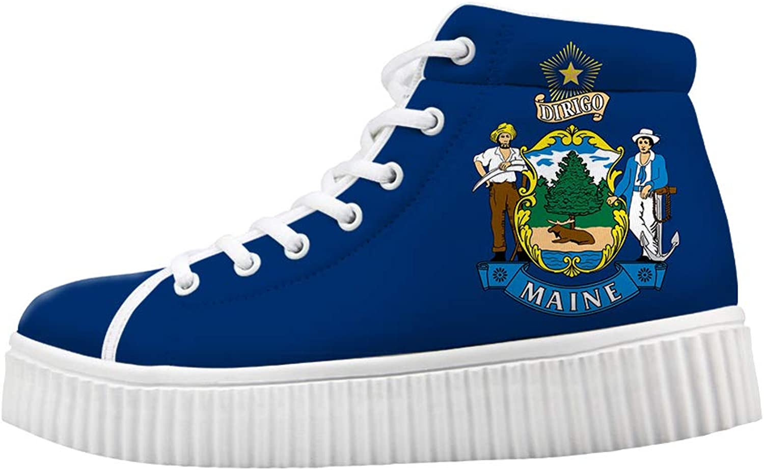 Owaheson Platform Lace up Sneaker Casual Chunky Walking shoes Women Maine Flag