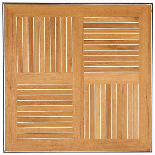 Teak-Tischplatte Luigi mit Alu-Rahmen, 70x70x2 cm (LxBxH), braun/silber, quadratisch
