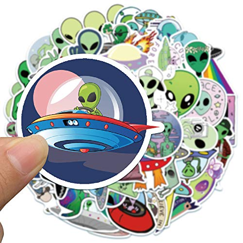 50 Adesivi Alieno Adesivi per bambini per bambini Adesivi in vinile per Bottiglie d'Acqua, Bagagli, Skateboard, Auto, Moto, Biciclette, Valigia