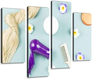 4 Panel hairdressing tools, nourishing mask and hair extensions on blue wooden Canvas Pictures Home Decor Gifts Canvas Wall Art for your Living Room