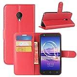 HualuBro Alcatel U5 HD Hülle, Leder Brieftasche Etui Tasche Schutzhülle HandyHülle [Standfunktion] Leather Wallet Flip Hülle Cover für Alcatel U5 HD (Rot)