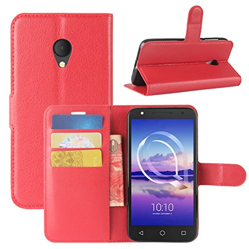 HualuBro Alcatel U5 HD Hülle, Leder Brieftasche Etui Tasche Schutzhülle HandyHülle [Standfunktion] Leather Wallet Flip Case Cover für Alcatel U5 HD (Rot)