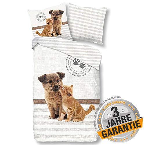 Aminata kids süße Wende-Bettwäsche-Set Welpe Hund & Katze 135 x 200 cm + 80 x 80 cm beige, weiß, Baumwolle mit Reißverschluss, Kinder-Bettwäsche mit Welpen-Motiv, mit Katzen-Fan-Motiv, Hunde-Motiv
