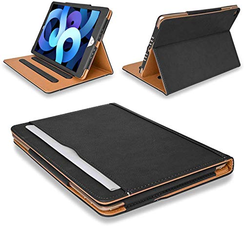 MOFRED New Apple iPad Air 4/4th Generation 10.9 inch- 2020 Leather Case-with Built-in magnet for Sleep & Awake Feature - Voted by'The Daily Telegraph' as #1 iPad Case! (Model Number A2324, A2325, A2072) (Black & Tan)