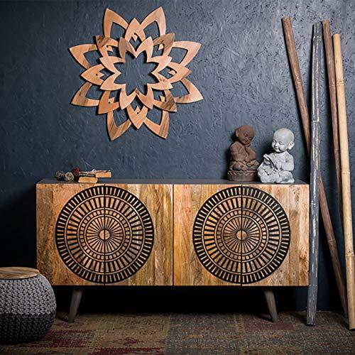 Native Home Asian Aparador de madera, Aparador de madera de mango, Mueble aparador Al x An x P: 85 x 160 x 45 cm, Naturaleza