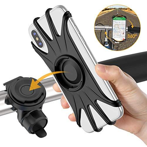 自転車スマホホルダー 取り外す可能 脱落防止 360度回転 4-6.5インチiphone Android全機種対応