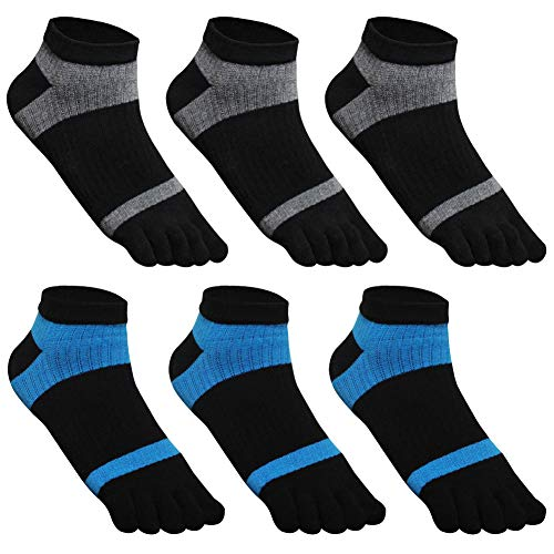 GINZIN 6 Paare Männer Zehensocken - Low Cut fünf Finger Socken- Herren Baumwoll Sportsocken ((3 X Schwarz/Grau + 3 X Schwarz/Blau) - 6 Paare, UK 10-12.5 / EU 44.5-47)