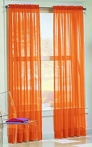 "DreamKingdom - 2 PCS Solid Sheer Window Curtains/Drape/Panels/Treatment Brand New 58""Wx84""L - Orange"