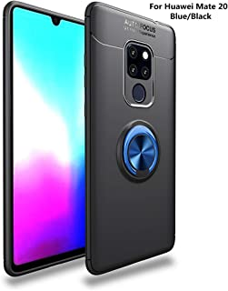 Huawei Mate 20 Case,360° Rotating Ring Kickstand Protective Case,TPU+PC Shock Absorption Double Protection Cover Compatible with [Magnetic Car Mount] for Huawei Mate 20 (Blue/Black)