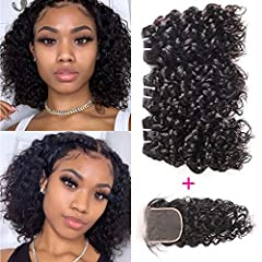 1.Hair Material: 10A Grade 100% Unprocessed Human Hair Wet And Wavy Bundles With Closure, Brazilian Virgin Water Wave Remy Hair 3 Bundles With 4X4 Lace Closure,Can Be Straightened, Curled, Styled As Your Own Hair. 2.Hair Quality: Machine Double Weft,...