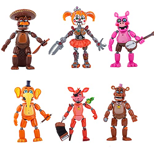 Five Nights at Freddy's Action Figures | Unique New FNAF Pizzeria Simulator | Action Figure Set of 6 PCS | Toy Dolls for All Kids | 6 inches (Multi)