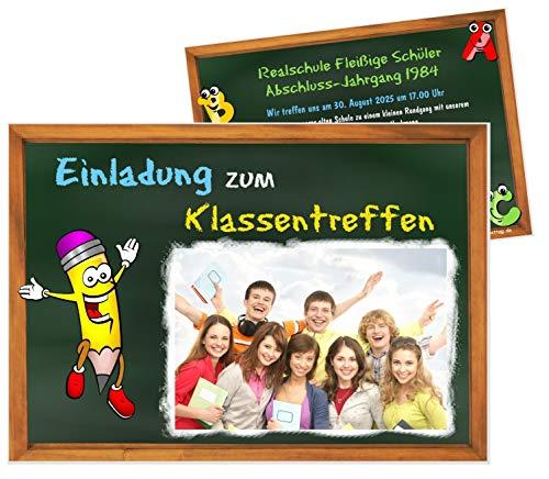 Unser-Festtag Klassentreffen Tafel mit Stift Einladungen für ehemalige Schulkameraden, lustig cool witzig, Wunschtext Foto - 5 Karten - 17 x 12 cm