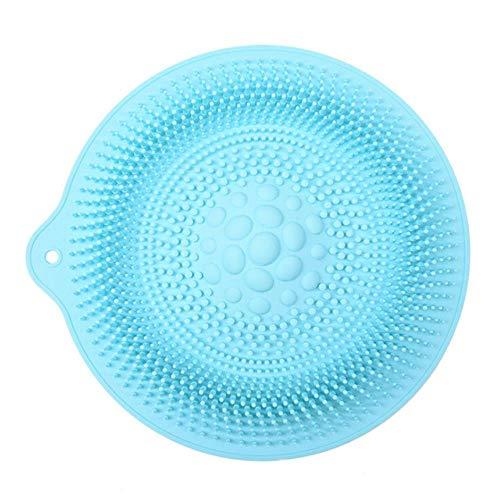Yener 30 Cm Ronde Siliconen Bad Massage Kussen Borstel voor Luie Wasvoeten Schone Dode Huid Badkamer Artefact Rugkussen Douchevoet, Blauwe A, 34cm diameter