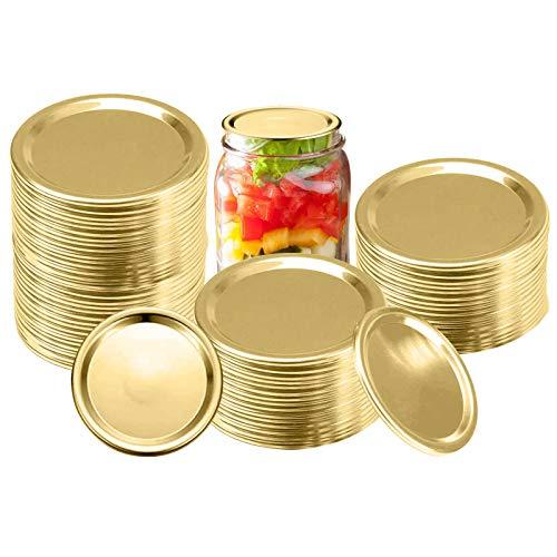 30pcs Regular Mouth Mason Jar Lids, Canning lids Split-Type Lids Jar Lid Reusable Leak-Proof Storage Solid Caps (Gold) (70mm)…