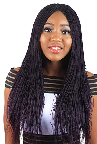 Wow Braids Twisted Wigs, Micro Twist Wig - Color Purple - 22 Inches. Synthetic Hand Braided Wigs for Black Women.