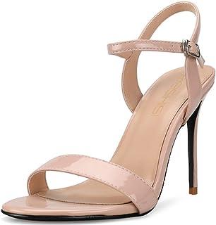 fdaf06833f5dd2 Sandali con Tacco Peep Toe Donna 10cm Sandali con Tacco Nudo in Pelle  Verniciata Elegante ed