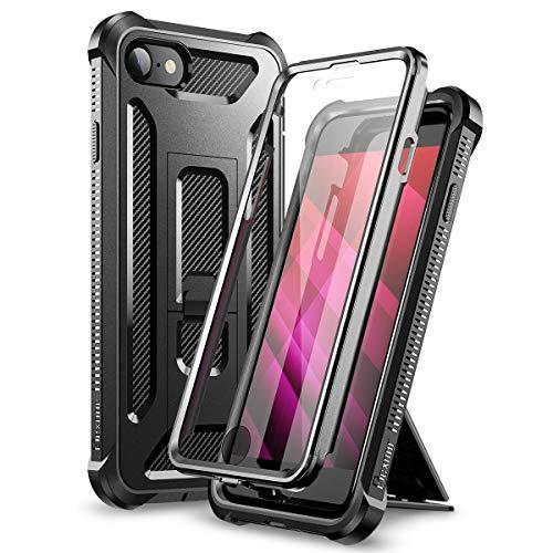 Dexnor Funda para iPhone SE 2020/8/7 (4.7'') Cubierta Carcasa (versión 2020) Armadura Protección de Cuerpo Completo 360 de Grado Militar con Soporte e Protector de Pantalla Incorporado - Negro