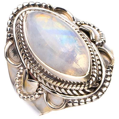 StarGems Anillo de plata de ley 925 hecho a mano con piedra lunar arco iris natural N D4648