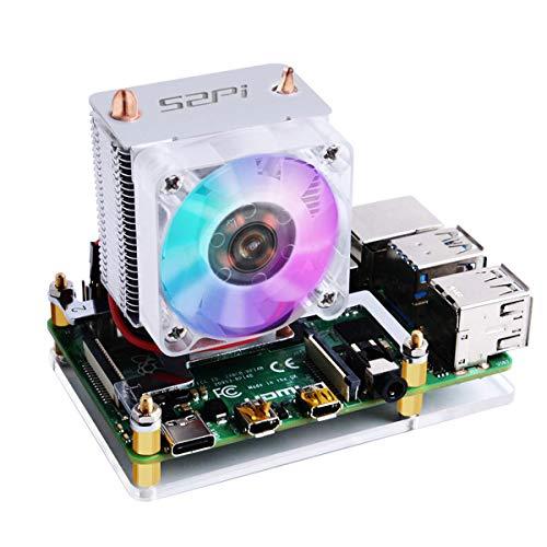 MakerFocus - Ventilador de refrigeración para Raspberry Pi, torre enfriadora para Raspberry Pi Ice, ventilador de refrigeración RGB...