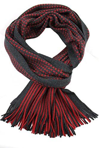 Rotfuchs Foulard Foulard Foulard en maille Foulard Raschel rayé à la mode rouge anthracite 100% laine ARE-6 (rouge gris)