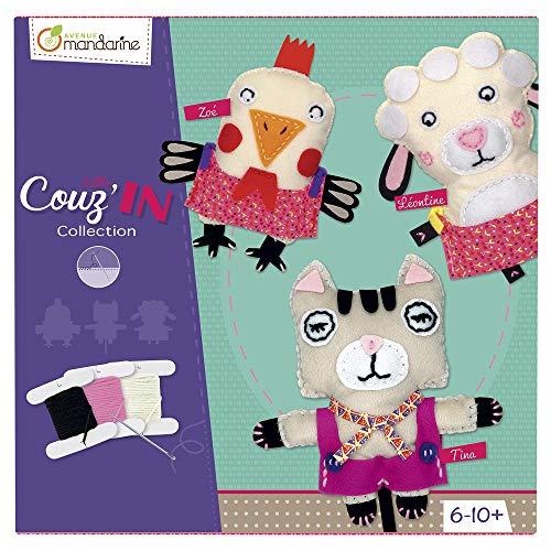 Avenue Mandarine KC014O - Une boite créative Little Couz'in comprenant 3 figurines Little Couz'in en feutrine, une aiguille et du fil (notice incluse)
