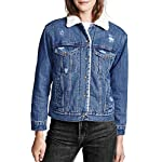 Women's Casual Button Down Ripped Fleece Basic Denim Jacket Coat with Pockets
