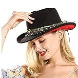 LHZUS Sombreros Sombrero de Vaquero Occidental for Mujer con Cinta de Borla Sombrero de ala Ancha de Lana Sombrero de Jazz Sombrero Sombrero Tamaño de Gorra 56-58 cm (Color : Negro, Size : 56-58)