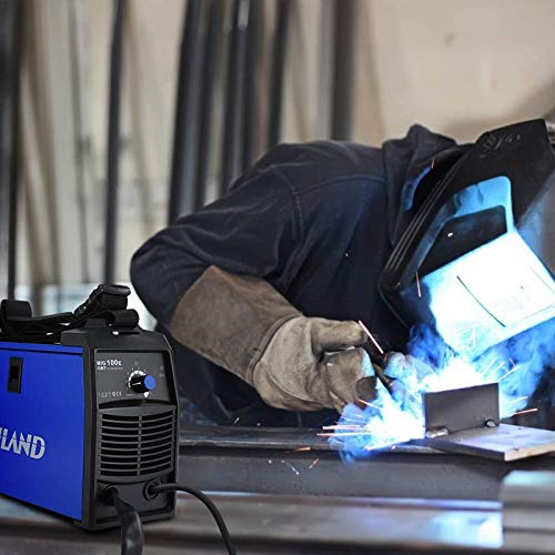 RILAND MIG Welder 110v, MIG Welding Machine, Automatic Wire Feed Welder, Flux Cored Welder with DIY Home Portable Welder Accessories 110/115/120V-MIG 100E…