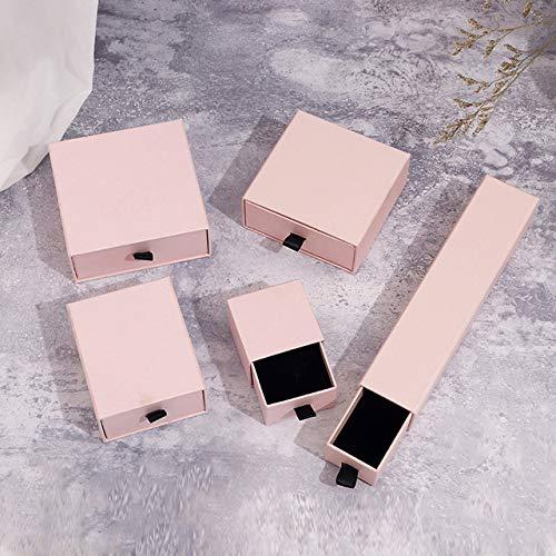 QWH Cajas de joyería de Moda y cajoneras de Embalaje Cajas de Regalo de Papel de exhibición para joyería Anillo Pulsera Collar Soporte para Pendientes, 3,9x9x3,5