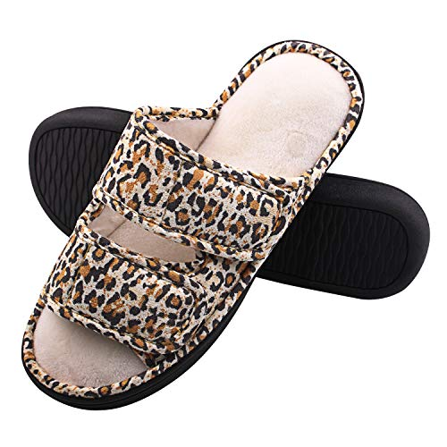 Women's Slippers, Adjustable Open Toe Memory Foam Summer House Slippers for Orthopedic Diabetic Arthritis Edema Flat Swollen, Washable Non Slip House Shoes Indoor and Outdoor (7-8 M US, Leopard)