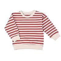 F's MAUMU ベビー服 カラフル ボーダー 長袖Tシャツ ベビー 赤ちゃん 男の子 女の子 ドロップショルダー トレーナー (レッド, 73)