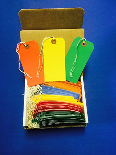 100 Tags 4 3/4' x 2 3/8' Size 5 Colored Inventory Shipping Hang Tag with String by Gitway