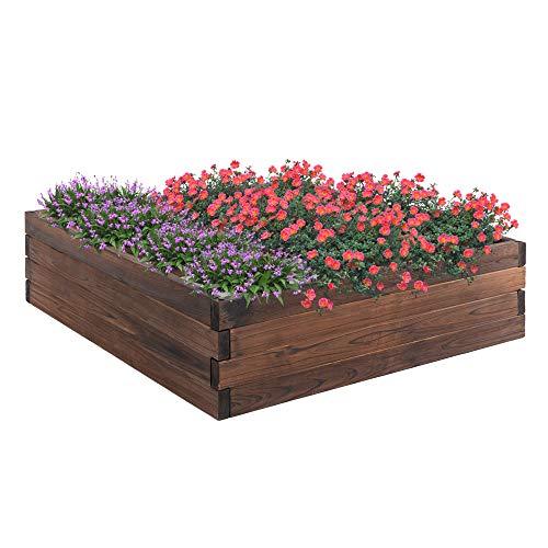 Outsunny Huerto Urbano Jardinera de Madera Maciza de Abeto Cama de Plantación de Jardín para Cultivo Plantas Flores Hierbas 80x80x22,5 cm Marrón