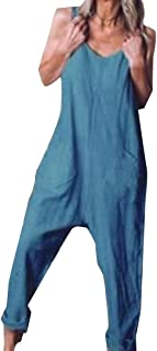 Women's Plus Size Jumpsuits Overall Baggy Bib Pants Wide Leg Rompers